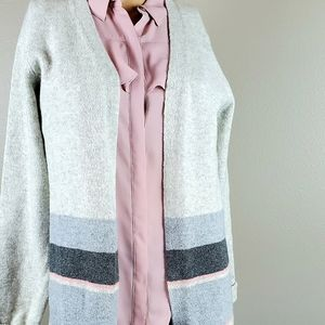 A New Day Gray & Pink Striped Cardigan